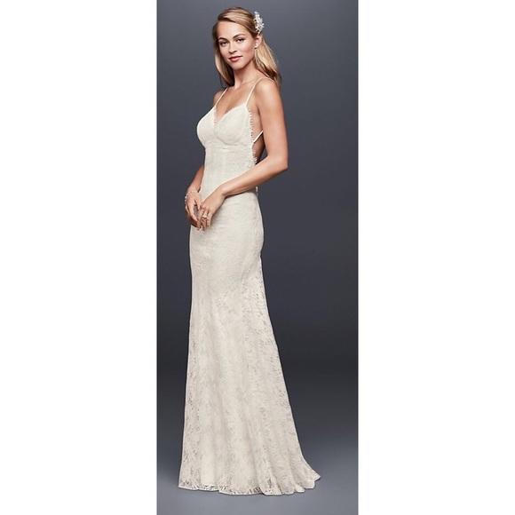 Davids bridal dresses galina soft lace sheath wedding dress with galina soft lace sheath wedding dress with lowback junglespirit Choice Image
